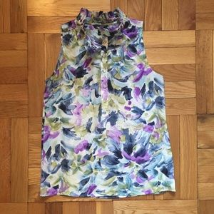 J.Crew Watercolor Floral Sleeveless Blouse